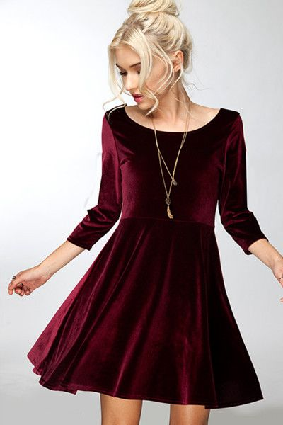 "- This chic and flirty velvet dress is perfect for any winter event - Small: 33"" length / 16"" bust"