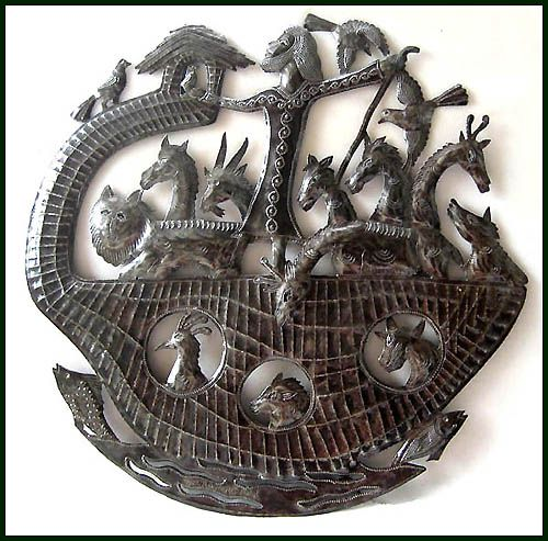 """Noah's Ark Metal Art Sculpture - Steel Drum Metal Art of Haiti  -Bible scene wall decor. Christian wall art, Christian décor, Recycled steel drum art, Christian design, Haitian metal art, Christian art, Christian gift,  Haitian metal art sculpture of Noah's Ark. This unique wall hanging is handmade by a very talented metal artist. His """"canvas"""" is a flattened 55 gallon metal drum. To this he cut and sculpts the piece, using only a hammer, chisel and a nail. Amazing workmanship.         Haitia"""