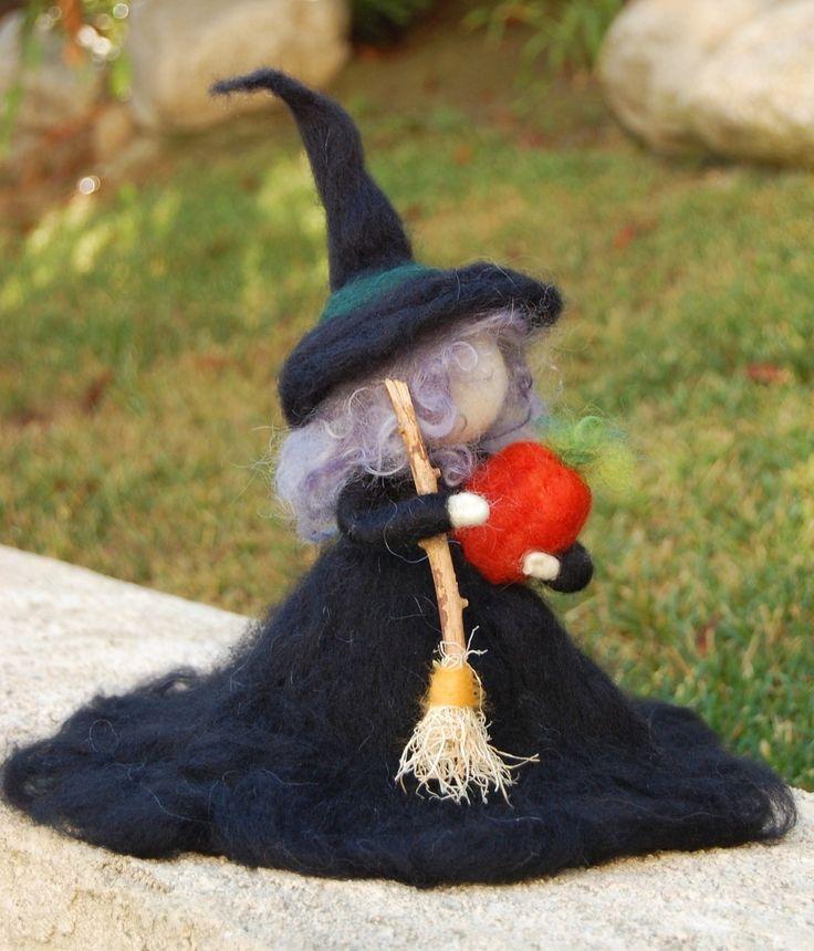 Needle Felted Halloween Witch - Medium Size