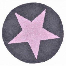 Tapis chambre enfant gris anthracite etoile rose réversible Lorena Canals
