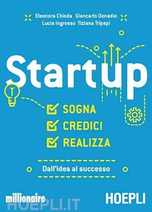Startup, sogna, credici, realizza: la guida essenziale dei giornalisti di Millionaire: Eleonora Chioda, Giancarlo Donadio, Lucia Ingrosso e Tiziana Tripepi.