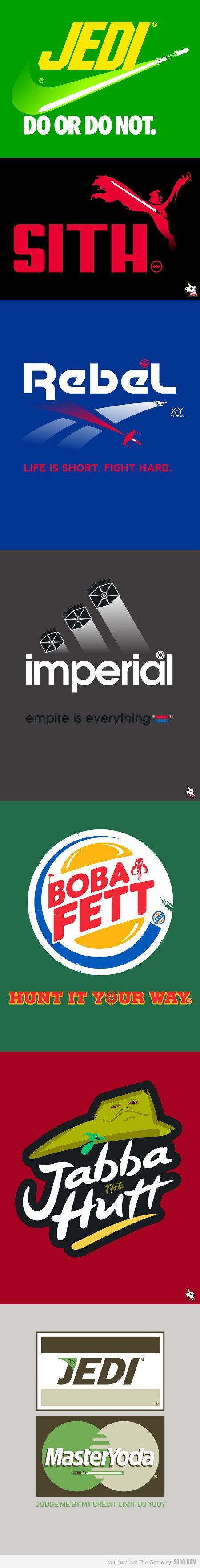 Famous logos get the Star Wars treatment...I know @Amanda Seidel would love a Yoda credit card.