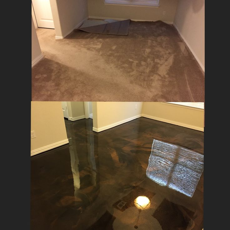 Metallic epoxy in a dining area. Removed the carpet, prepared the concrete for the epoxy and applied a black metallic epoxy with copper highlights.