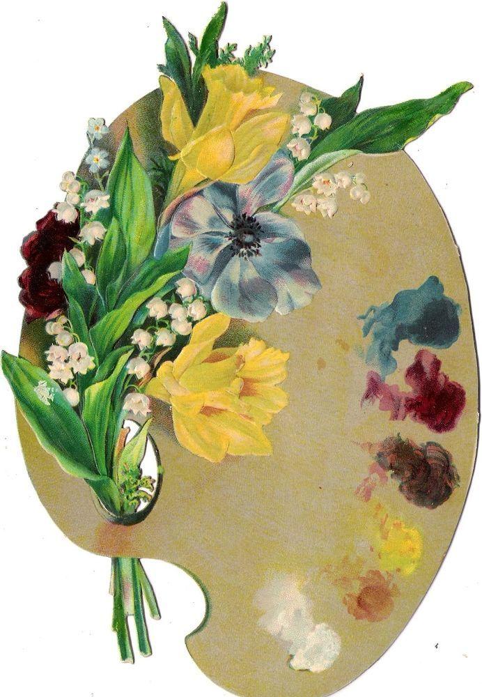 Oblaten Glanzbild scrap die cut chromo Mischpalette 18,4cm Blume Frühling spring