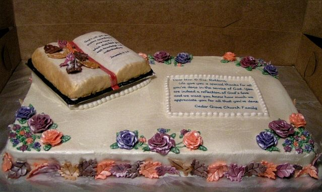 Cake Design For Pastors : Pastor Appreciation - A full sheet cake iced with white ...