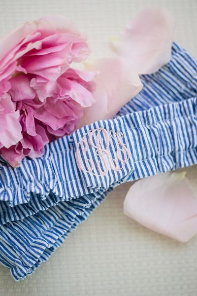 monogrammed seersucker garter | Katelyn James #wedding