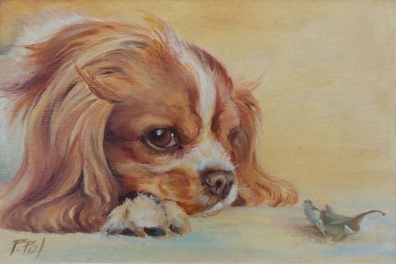 Cavalier spaniel ORIGINAL OIL PAINTING Dog by CanisArtStudio