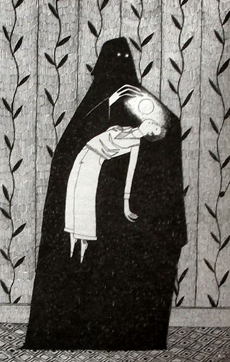 This illustration by David Roberts, screams Edward Gorey to me in a good way!