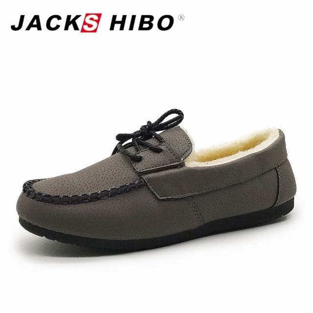 Tendance Chaussures 2017/ 2018 : JACKSHIBO Fur Moccasins Oxford Shoes for Women Winter Flat Shoes Woman Leather S