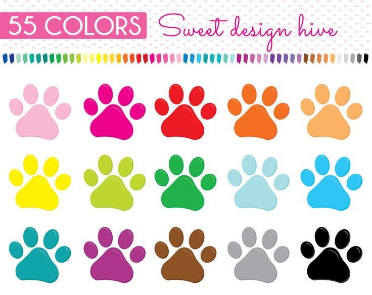 Paw Prints Clipart, rainbow colors, puppy paws Clip Art, Dog paw Clipart, Cat paw Clipart,  Planner Clipart, Scrapbooking, printable, PL0028 by Sweetdesignhive on Etsy