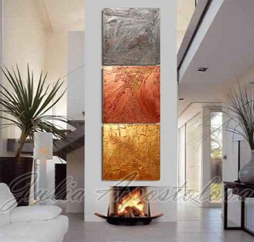 #Originalpainting #Gold #Abstract #Triptych by #JuliaApostolova #Original #painting #GoldAbstract #Triptychpainting #HugeArt #LargeAbstract #Siver #Copper #Goldhomedecor #goldofficedecor #homedecor #wallart #hugewallart #largewallart