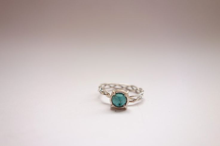Sterlings silver small turquoise ring by Picossa on Etsy