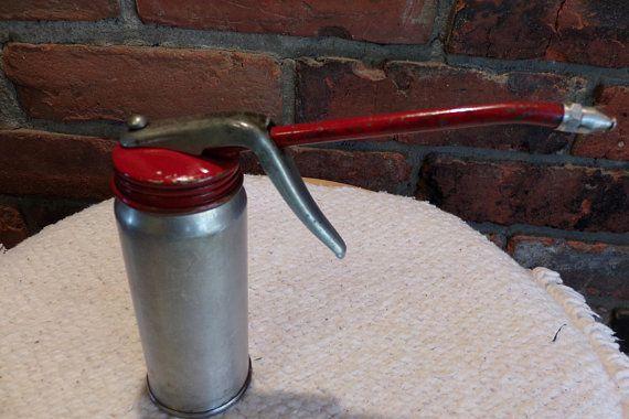 Plews Vintage Oil Can oiler, Vintage Goldenrod pistol oiler