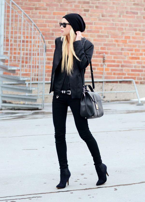 #cool #winter #frio #black #bota #botacanomedio @gorro #jaqueta #couro #jaquetadecouro