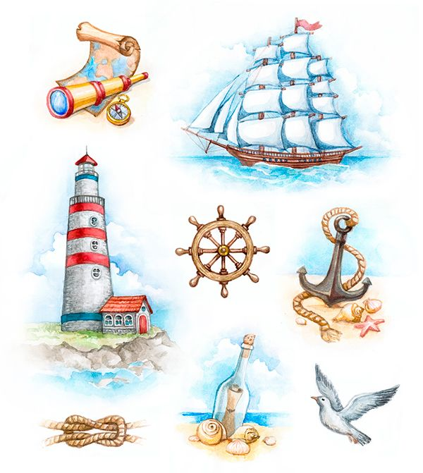 Nautical illustrations, invitations and patterns on Behance