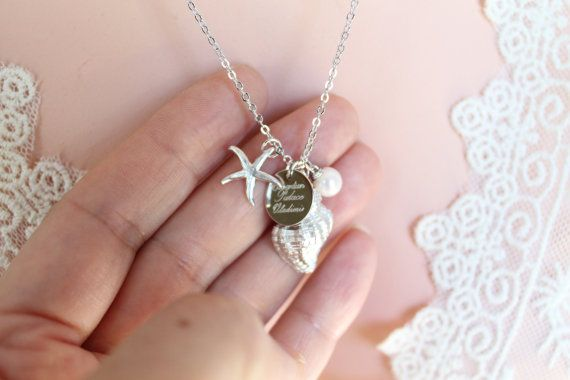 Seashell Necklace, Custom Engravable Disc With Conch Snail Shell, Starfish, Freshwater Pearl, Nautical Jewelry, Beach Wedding