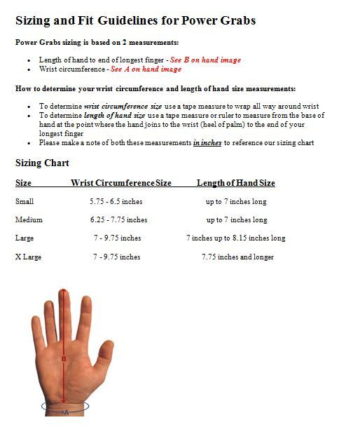 Power Grabs Sizing and Fit Guidelines