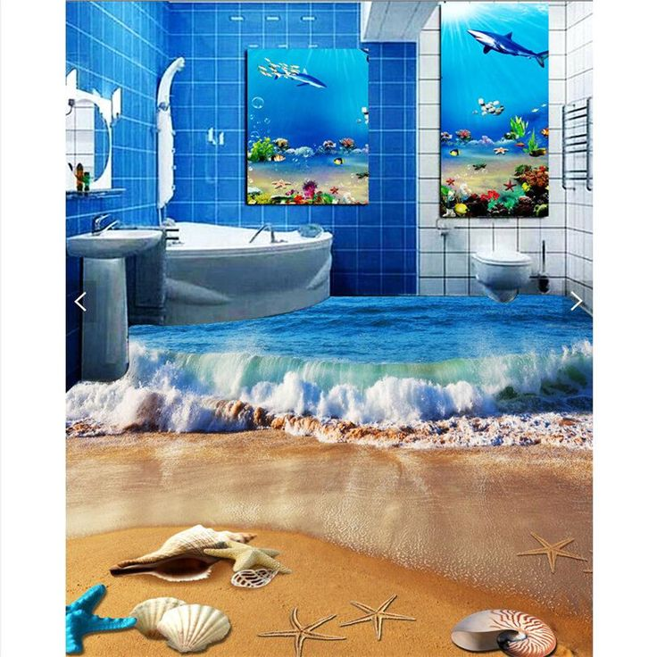 beibehang HD blue waves lapping the beach Waterproof Bathroom kitchen balcony PVC Wall paper Self wall sticker Floor painting #Affiliate