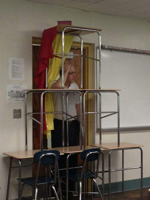"""HAHAHAHA:  """"My AP euro teacher wouldn't let our class watch Les Mis so we barricaded the door and screamed """"VIVE LA REVOLUCIÓN"""" when he tried to get in. That is the face of a man who is 24601% done."""""""