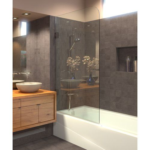 30 X 64 Hinged Frameless Tub Door With Clearshield Technology
