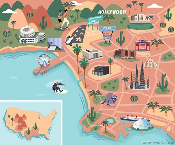 Jasmijn Evans - Illustrated map of Los Angeles for KLM Holland Herald magazine
