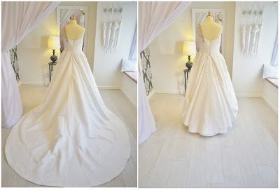 Gorgeous example of an overbustle on a wedding dress with a large train. www.glasgowbride.blogspot.co.uk for more tips and info on wedding dresses