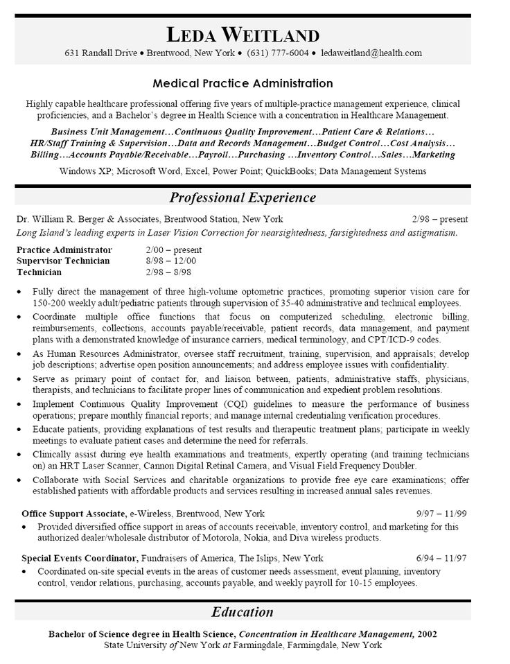 hospital administrator resume example for human resources leadership sample page how write