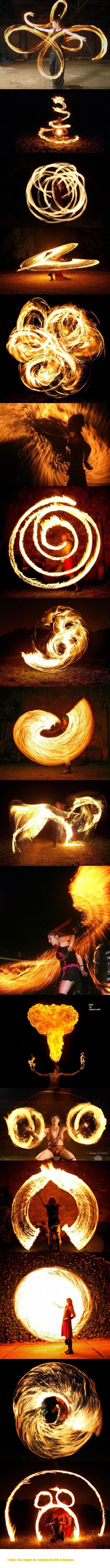 This collage of firespinning shows the creative power of a long exposure. With the shutter open, the camera is able to capture the complete movement of the firespinner, giving this feeling of flow and simplicity to the image. I hope to create some light painting photographs with my project.