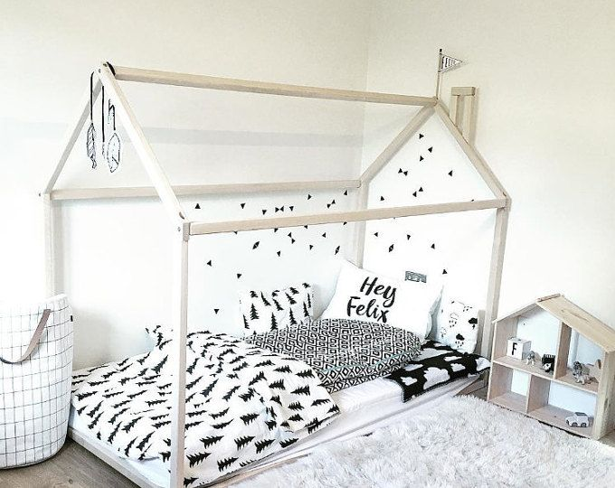 Toddler bed house bed tent bed children bed wooden house wood house wood nursery kids teepee bed wood bed frame wood house bed  sc 1 st  Pinterest & Best 25+ Crib u0026 toddler bed accessories ideas on Pinterest | Low ...