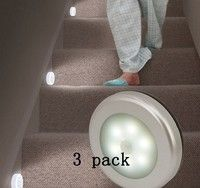 LUMIÈRES Ã MOUVEMENT Wish | Cool Portable 6 LED Wireless Motion Sensor Night Light Battery-Powered with Sticker 3 Pack