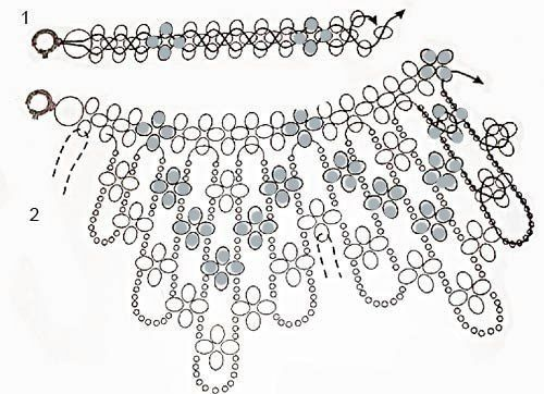 воротничок, накладной, красивый, белый, бисер, бусины, бисероплетение, своими руками, плетение, схема, рукоделие, творчество