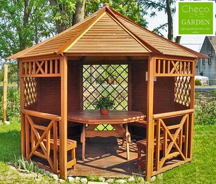 wood gazebos | GARDEN WOODEN GAZEBO, PAVILION, HOT TUB, OCTAGONAL DIAMETER 3.5 m (Ex ...
