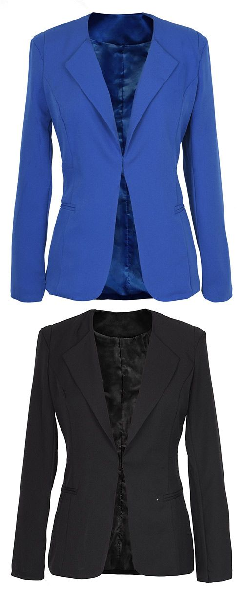 $22.99 Only with free shipping&easy return! A blazer is a wardrobe must-have. This piece with lining is detailed with front hook closure&side pockets! You gonna love its slim fit at Cupshe.com