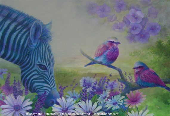 "#Girls bedroom decor, #zebra girls room decor art, #bird art #nursery decor - #magenta, #raspberry, #pink, #yellow, blue, green - personalized large original painting 20""x30"" by Denise Cunniff - ArtFromDenise"