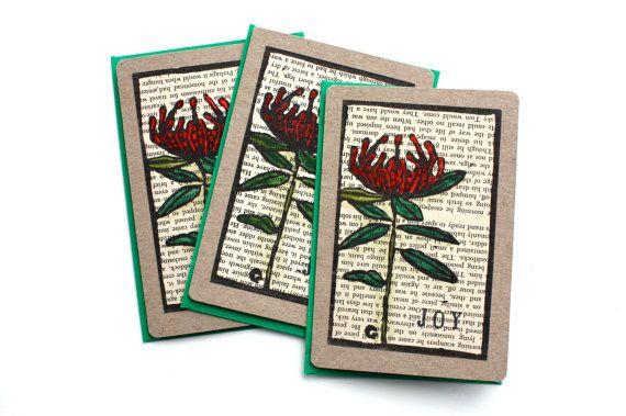 Christmas Card Handpainted Lino Print - Tasmanian Waratah - Made in Australia - Linocut