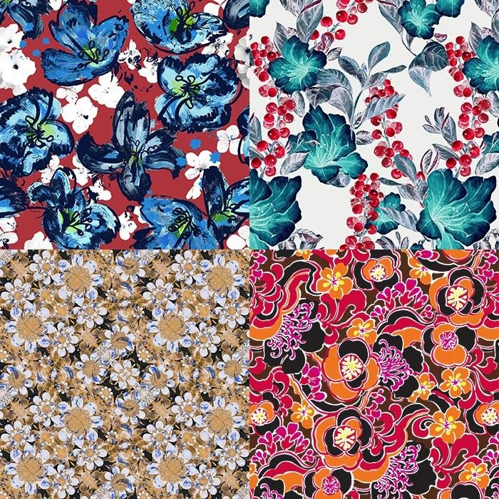 Flower Power inspired Patternbank Studio Designs by Aina Martinez Snape, Green Paz, DFLC Prints, Michelle Kistima-Menser
