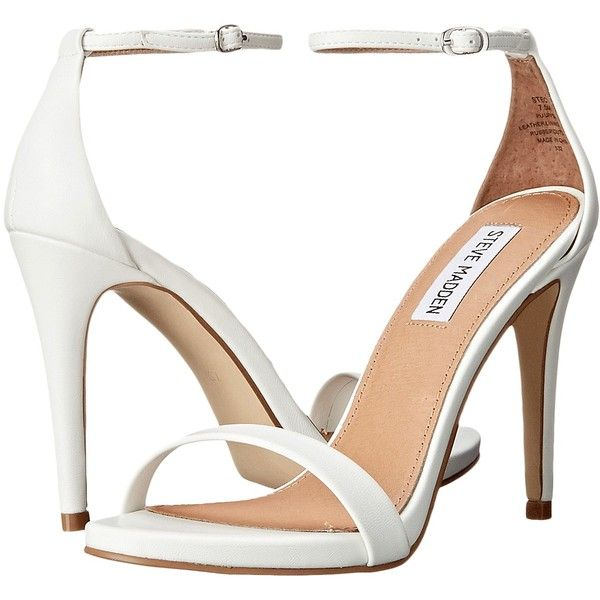 Steve Madden Stecy (White) High Heels (1,275 MXN) ❤ liked on Polyvore featuring shoes, sandals, white, ankle strap stilettos, high heel stilettos, steve madden sandals, white sandals and white platform sandals