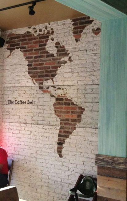 exposed brick wall map art