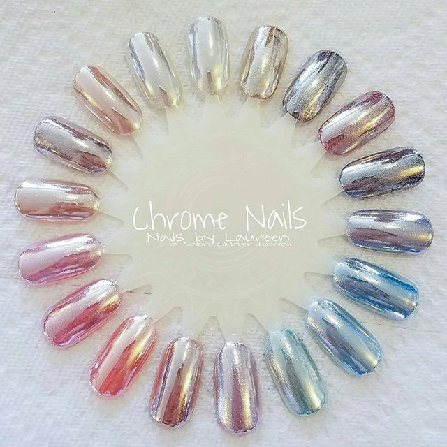 Color chrome!!! Use the chrome #3 with the gossip gel to create the color chromes. Oceannailsupply.com . . . from @nailsbylaureen - I was just so excited for chrome nails that I just went crazy with all these colors!! We can make literally ANY color chrome.                                                                                                                                                                                 Mehr