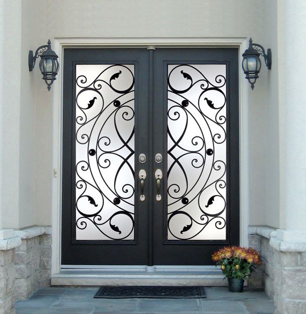 doors double hung front entry doors with silver long door knobs for modern home from