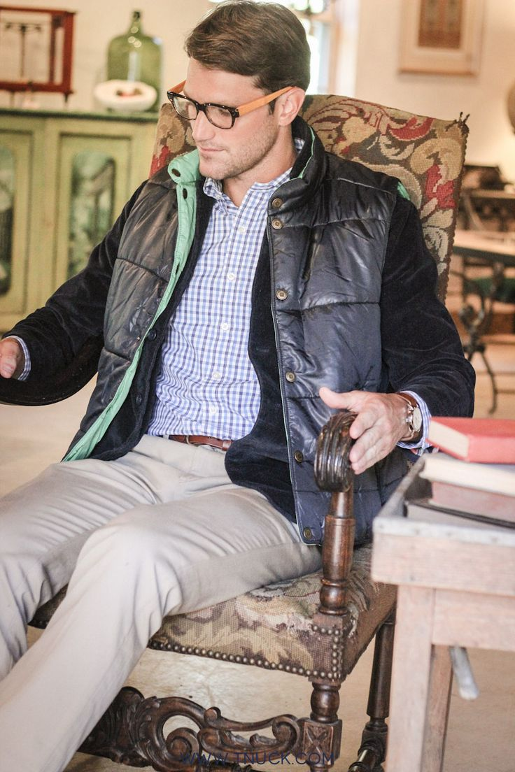 Antiquing Attire for the gents: Puffer vest, button down, and corduroy blazer.