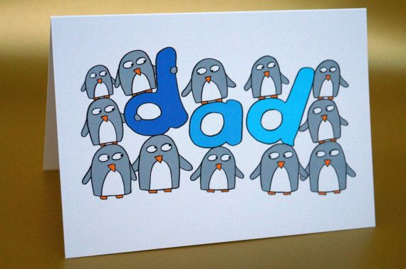 Father's Day card - Dad Birthday Card - Funny Penguin Card