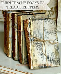 Turn Trashy Books into Antique Treasures using CeCe Caldwell's 100% Chalk and Clay Based paints in Young Kansas Wheat, Pittsburg Grey and 100% Natural Metallic Wax in El Dorado Gold and Aging Cream. REDOUXINTERIORS.COM FACEBOOK: REDOUX INSTAGRAM: REDOUXINTERIORS