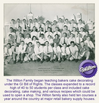 The Wilton Family began teaching bakers cake decorating under the GI Bill of Rights. #wiltoncontest