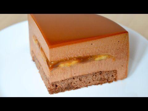 Муссовый торт Банан Карамель Шоколад ☆ Mousse cake Banana Caramel Chocolate - YouTube