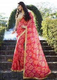 Casual Wear  Georgette Pink Printed Saree