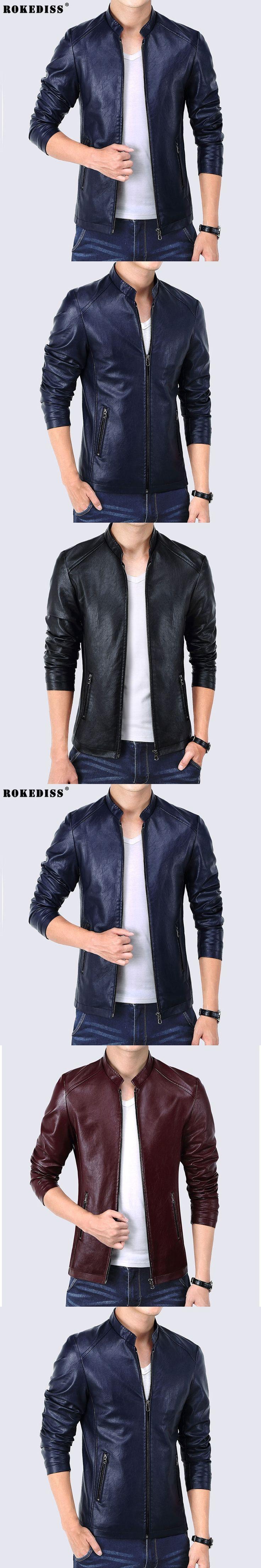 Fashion Slim Fit Faux Leather Jacket Men Zipper Pockets 2016 Autumn Men's Jackets Black Blue Red Windbreaker Coat Male TC386