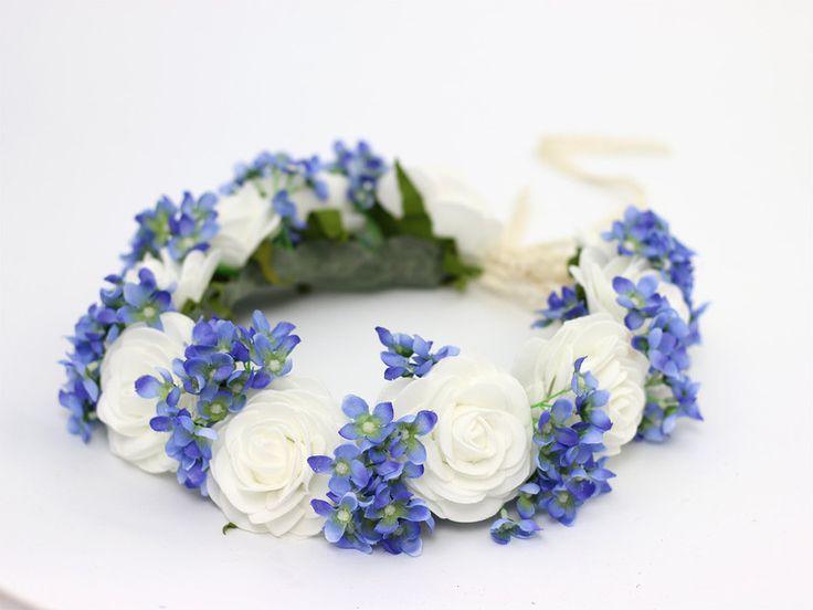 ♥ Wianek na głowę ♥ Biel + Błękit ♥ - LolaWhite - Kwiaty do włosów