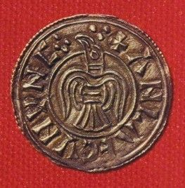 Viking coin with Raven  10th Century CE. York, England.  Minted by Anlaf (Olaf) Guthfrithsson