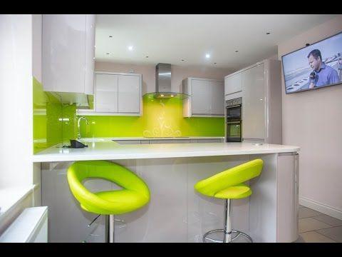Lime Green Swirls Kitchen Glass Splashbacks